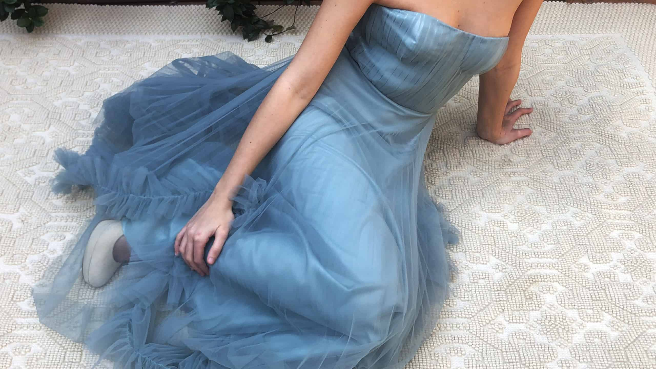 Grace bustier ceremony dress pleated cannon and skirt with powder blue pleated tulle ruffle, satin viscose lining